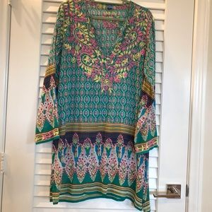 180dcd2ade6 Raj Boho Print Tunic Dress w/ Embroidery
